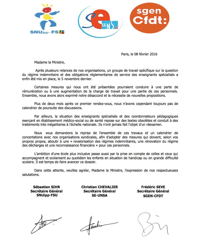 160208_courrier_intersyndical régime indemnités et obligations de serivce des enseignants spécialisés