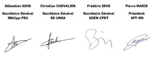 signature intersyndicale enseignants TICE
