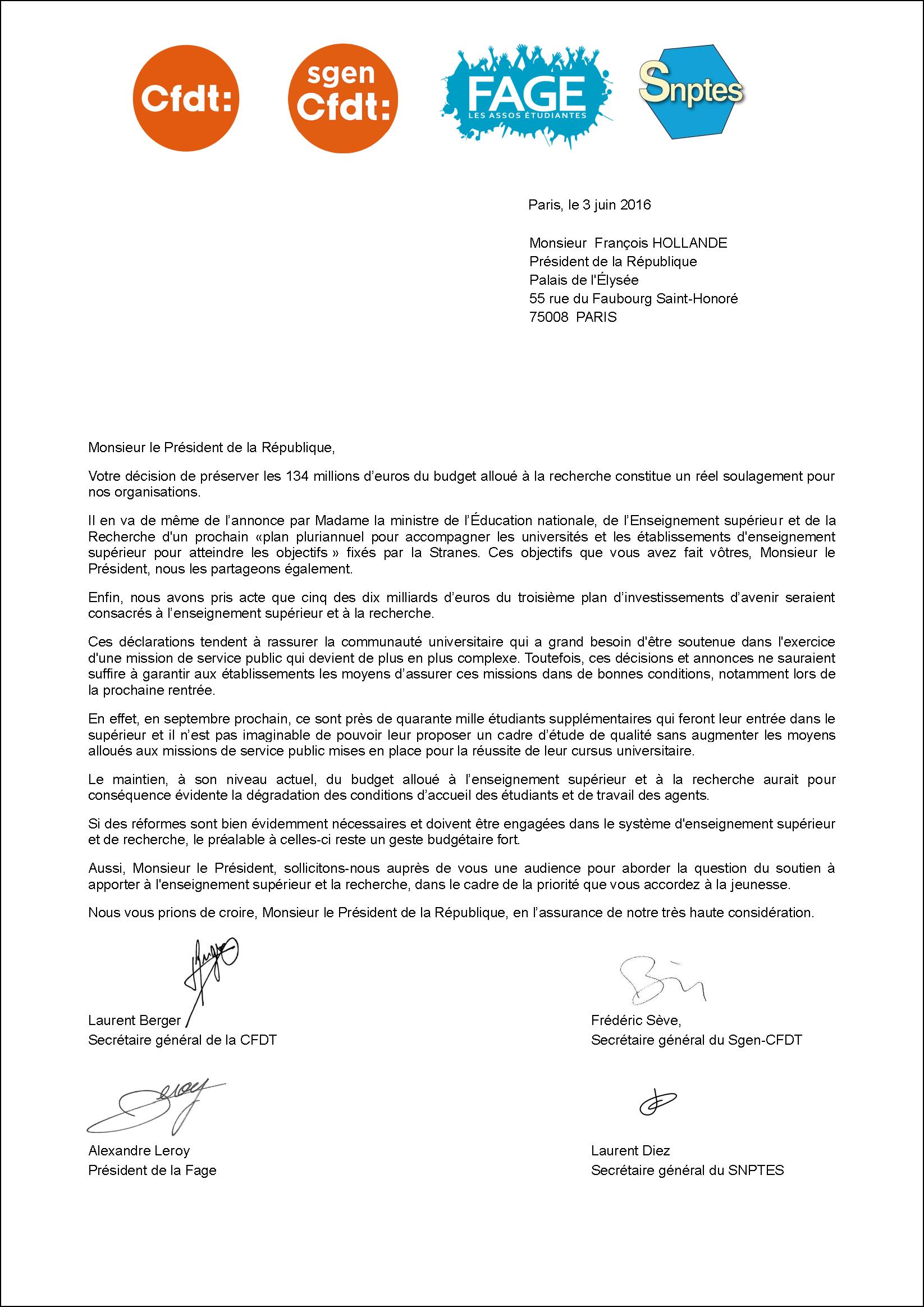 Budget Sup-Recherche courrier_au_president_de_la_republique_cfdt_sgen_fage_snptes_03_06_16