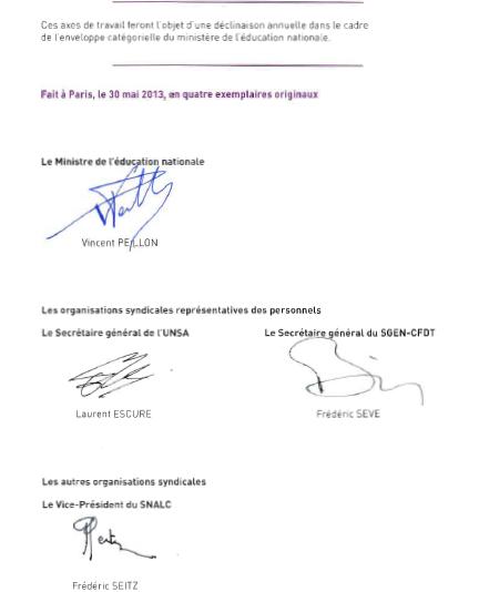 signatures protocole 2013 1er degré