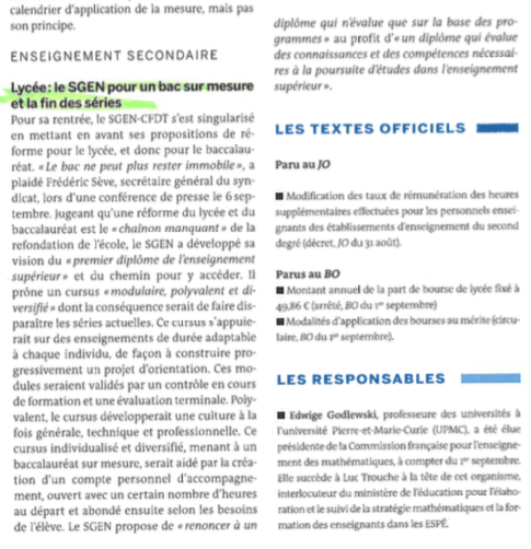 La lettre du Monde 12 09 16 Lycée Le Sgen pour un bac sur mesure