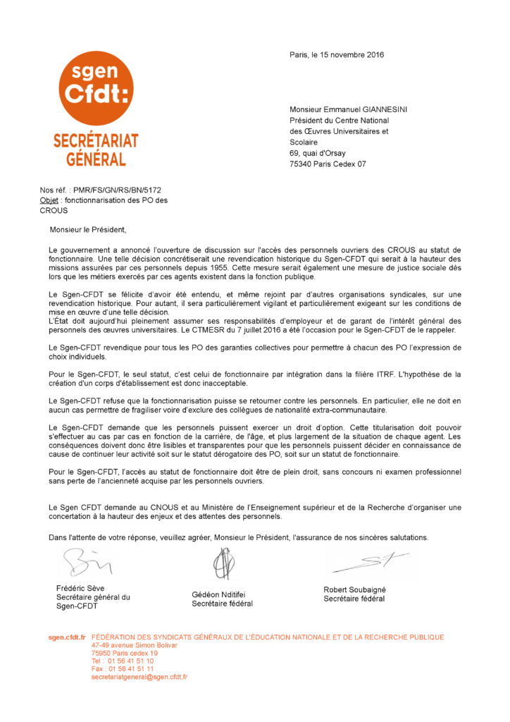 Lettre du Sgen-CFDT au président du CNOUS revednication et demande de concertation en voue de la fonctionnarisation des personnels ouvrier des CROUS PO
