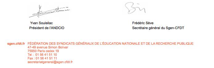 Garantir aux CIO les moyens de fonctionnement d'un service public de qualité promouvoir leurs missions : lettre ouverte du Sgen-CFDT et de l'ANDCIO...