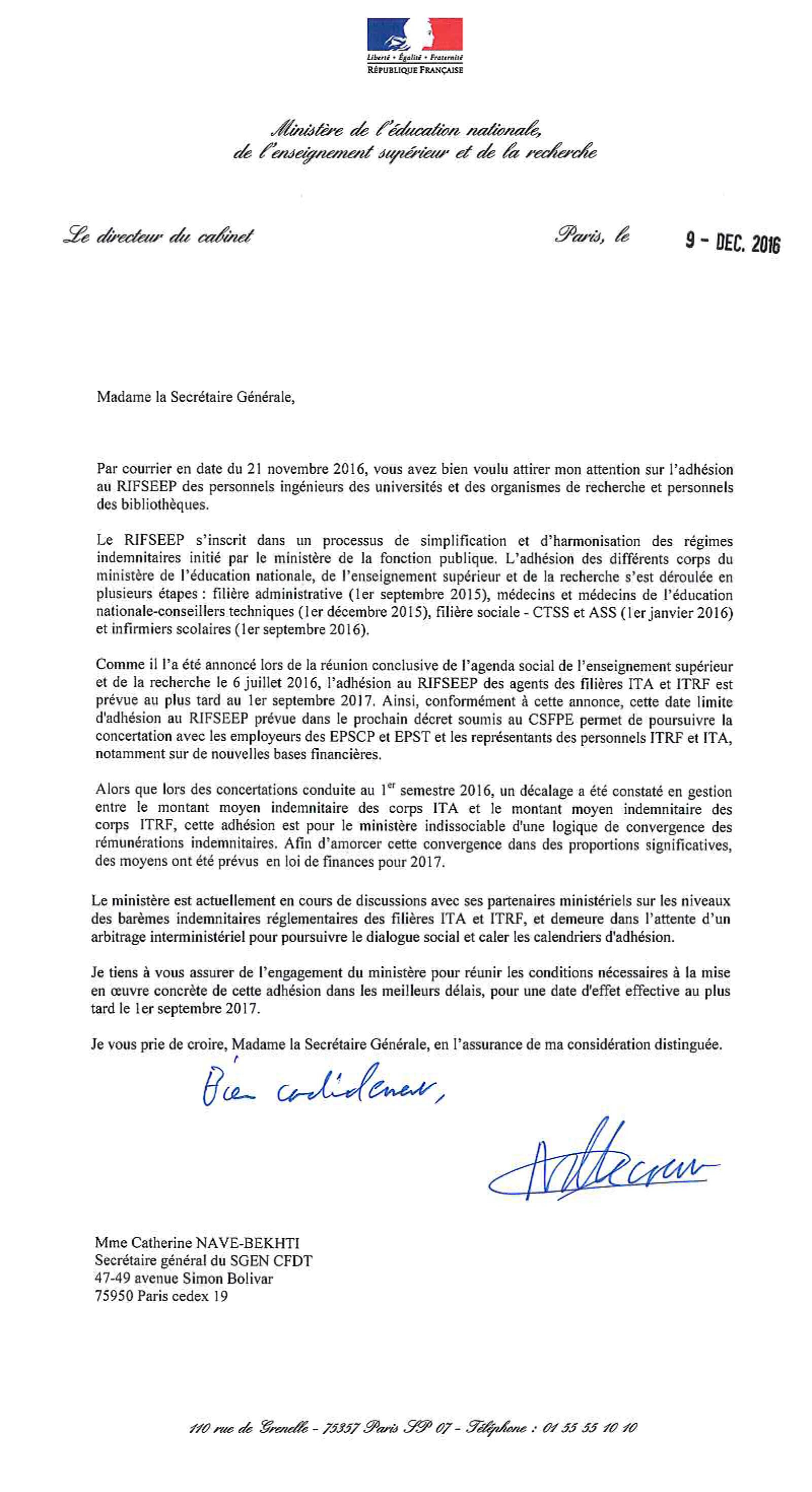 rifseep_ita_itrf_reponse_ministere Rifseep des ITA et ITRF