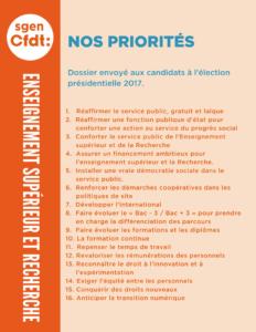 Présidentielle 2017 - Les priorités du Sgen-CFDT pour l'enseignement supérieur et la recherche