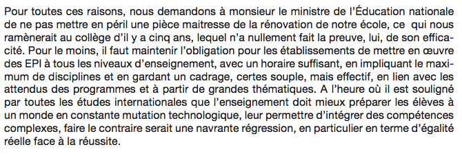 Ne marginalisez pas les EPI, monsieur le ministre ! lettre à JM Blanquer 1