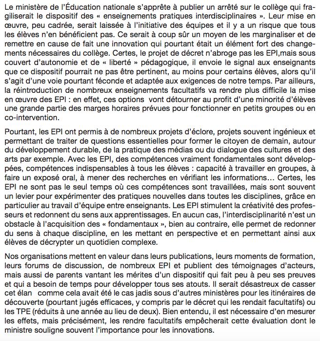 Ne marginalisez pas les EPI, monsieur le ministre ! lettre à JM Blanquer 2