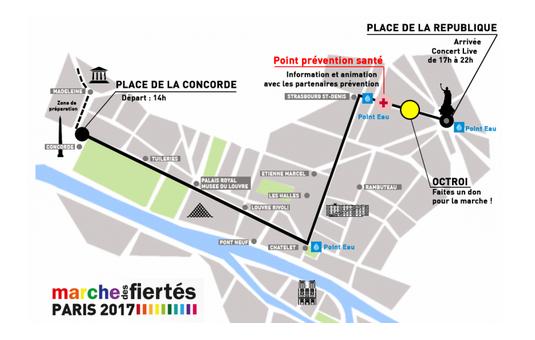 parcours marche des fiertés LGBT Paris 2017