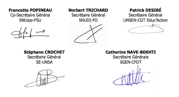 signatures courrier intersyndical contrats aidés