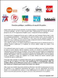 Communiqué intersydical appel à mobilisation des agents de la fonction publique - 10 octobre 2017