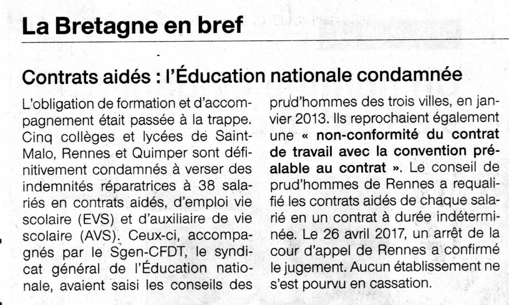 Article d'Ouest-France