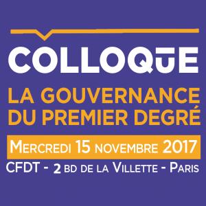 Colloque Gouvernance du premier degré