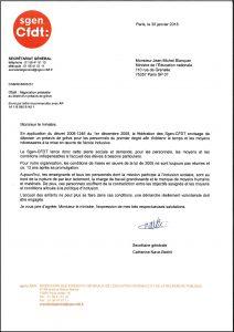 Alerte sociale - école inclusive - lettre au Ministre de l'éducation nationale