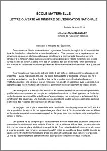 Assises de l'école maternelle : lettre ouverte au ministre de l'éducation nationale
