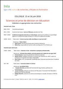 Sciences et prise de décision en éducation - Colloque de l'Iréa - Sgen-CFDT