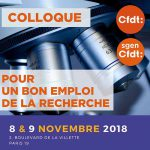 Colloque : « Pour un bon emploi de la recherche » 8 et 9 novembre 2018 - Paris