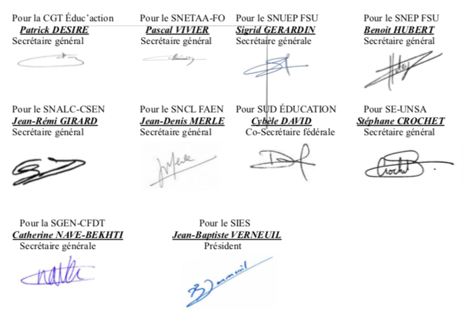 signatures intersyndicale voie professionnelle