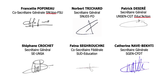 signatures SG intersyndicale 1D