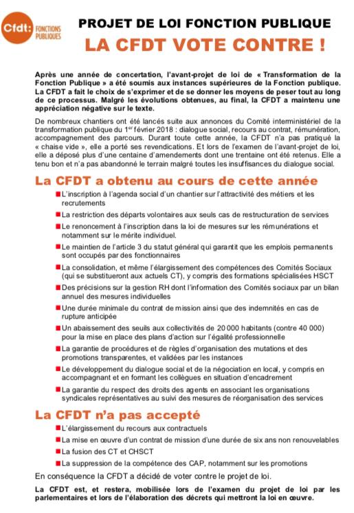 tract CFDT Fonctions Publiques suite au conseil commun de la fonction publique