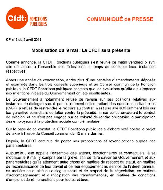 8d1d4fb0ac3 Projet de loi « Transformation de la Fonction Publique »   la CFDT propose  et s oppose