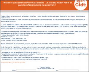 Enseignants de la MLDS : décret indemnitaire associé au certificat de professionnalisation lutte contre le décrochage scolaire (CPLDS) Petition