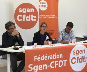 Alexis Torchet, Catherine Nave-Bekhti et Pierre-Marie Rochard. Conférence de presse de rentrée du Sgen-CFDT, 10 septembre 2019.