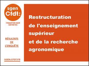 restructuration de l'enseignement supérieur et de la recherche agronomique