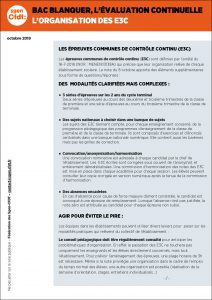 Organisation des E3C - Baccalauréat