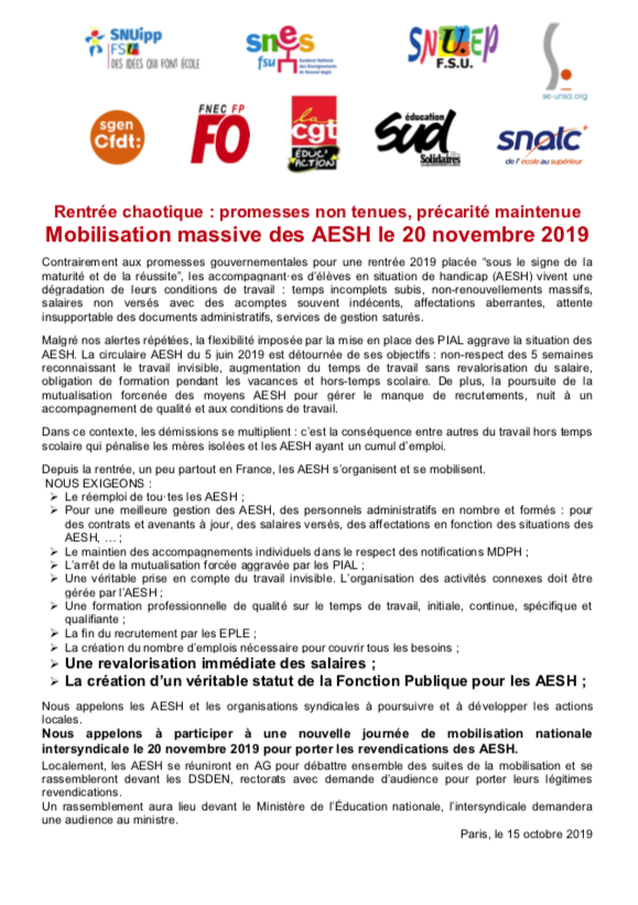 appel intersyndical AESH 20 novembre 2019