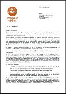 Covid-19 : Le Sgen-CFDT interpelle la présidente du CNOUS