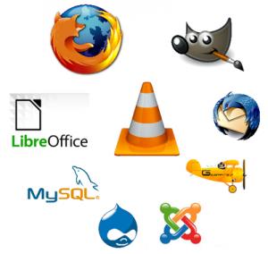 Exemples de logiciels libres :VLCMedia Player, Firefox, GIMP, Thunderbird, GCompris, Joomla, Drupal, MySql, Libreoffice