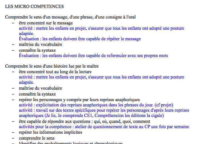 Micro-compétences évaluées en CE 1