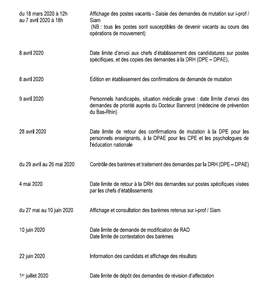 calendrier mouvement intra 2020