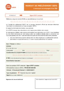 Mandat SEPA pour adhésion par prélèvement automatique mensuel au Sgen-CFDT Lorraine (Meurthe et Moselle, Meuse, Moselle, Vosges, université de Lorraine...).