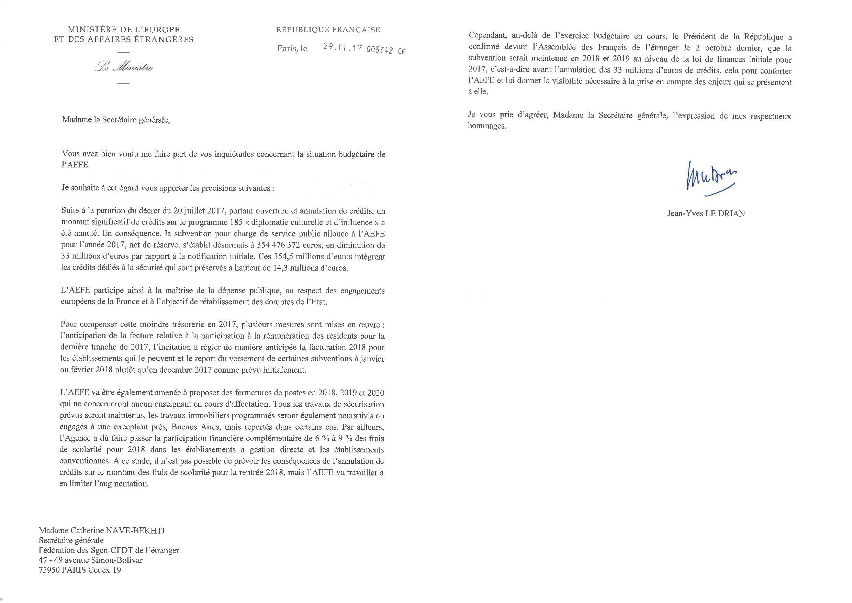 Réponse du ministre des Affaires étrangères à la lettre du Sgen-CFDT