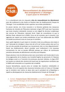 Communiqué de presse du Sgen-CFDT sur les refus de renouvellement de détachement