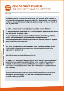 déni de droit syndical au vice rectorat de Mayotte