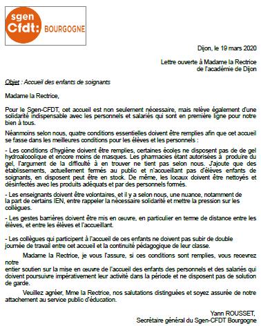 lettre ouverte à la rectrice : accueil des enfants de soignants