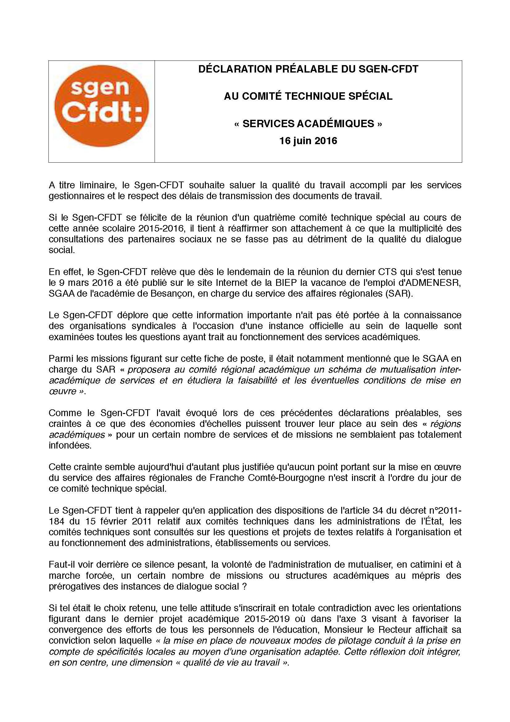 Compte Rendu Cts 16 Juin 2016 Academie Besacon Sgen Cfdt Franche Comte